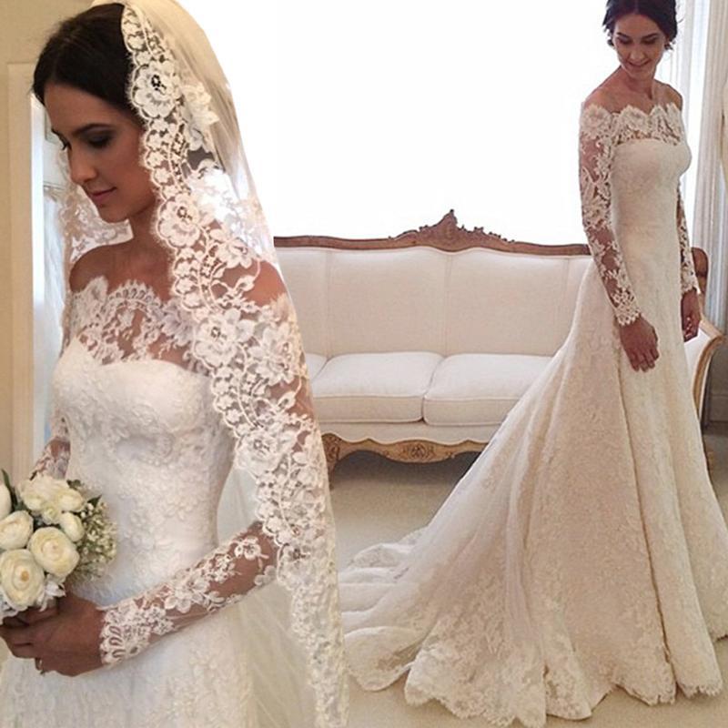 Discount 2016 full lace wedding dresses long sleeves sexy for Boat neck long sleeve wedding dress