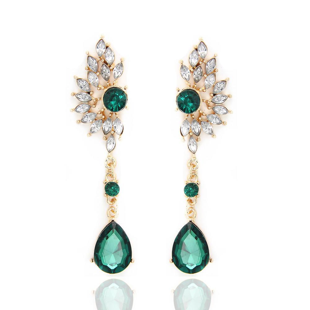 2017 Vintage Party Chandelier Earrings Green Crystal Pearl Big – Vintage Chandelier Earrings