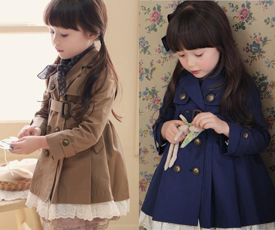 High Quality Baby Girl Fashion Casual Lace Double Breasted Coats