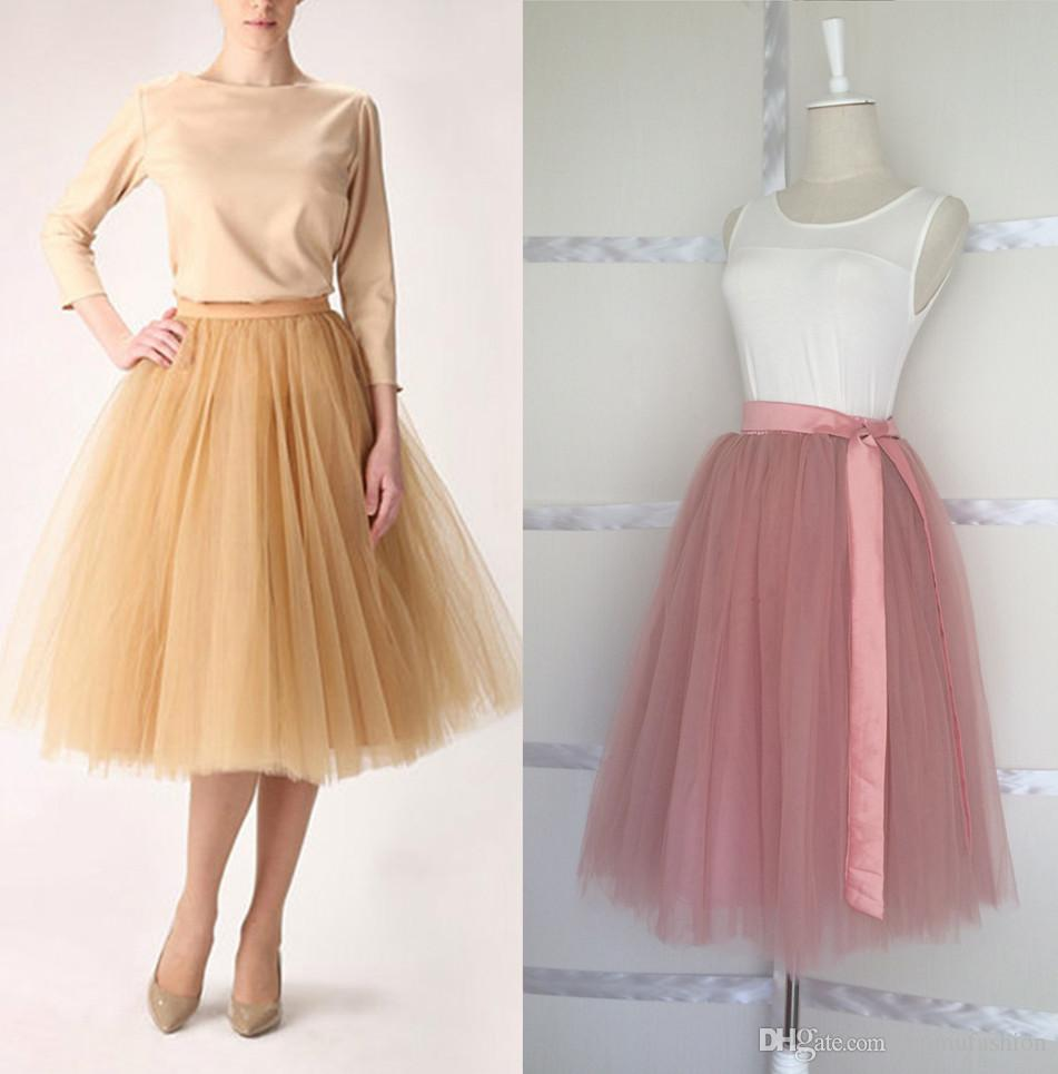 Best Quality Wholesale Brand New Puffy 6 Layers Midi Tulle Skirt ...