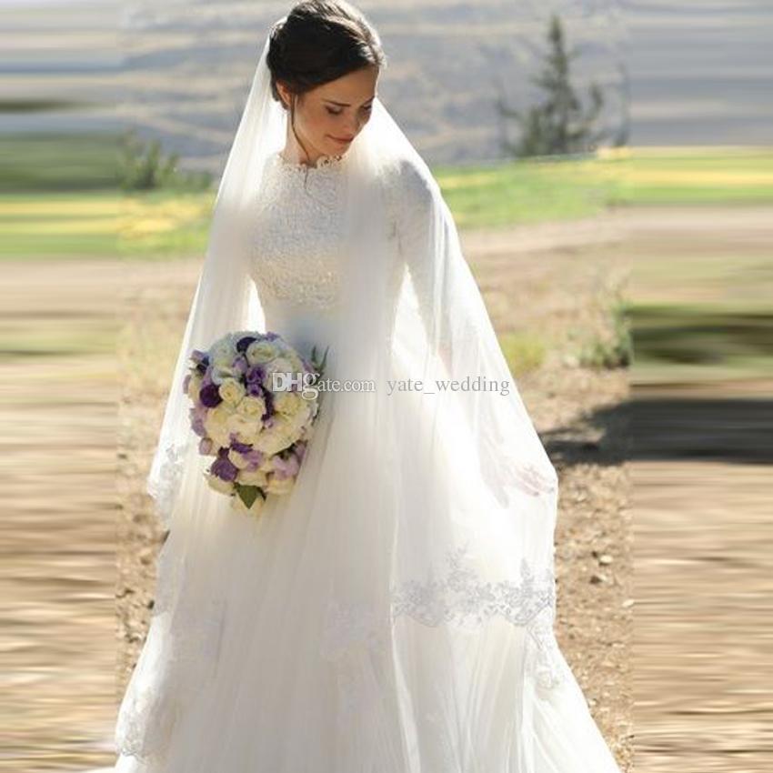 Discount Elegant Muslim Wedding Dresses High Neck Half Sleeves Appliques Satin Tulle Floor