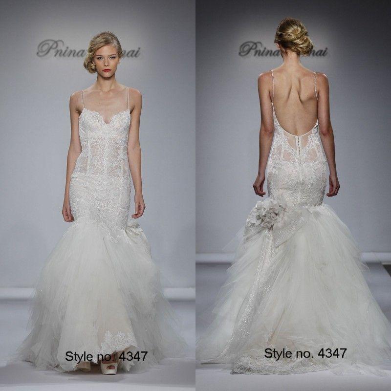 Plus Size Wedding Dresses Pnina Tornai : Pnina tornai sexy beach wedding gowns spaghetti strap low back plus