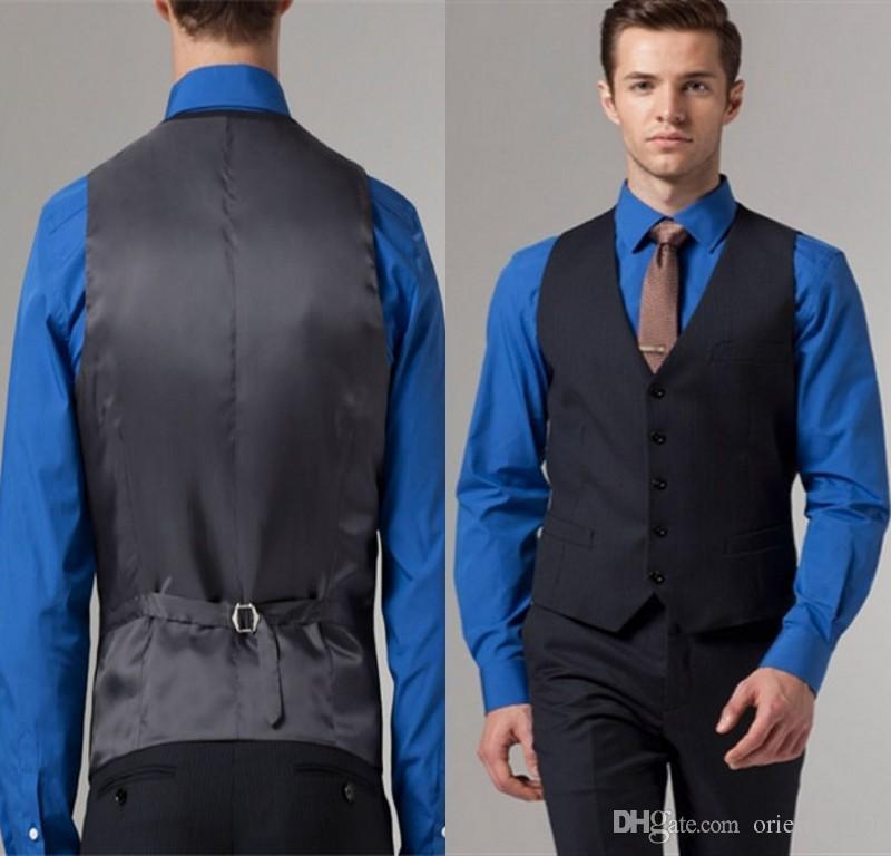 2015 Cheap Mens Vest New Style Navy Blue Men Suit Vest Five ...