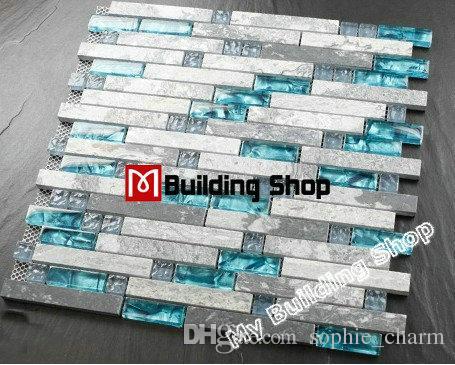 Piastrelle backsplash cucina mosaico parete di vetro blu delle ...