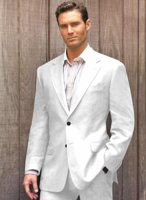 Casual Grey Linen Suits Summer Notched Lapel Men Wedding Suits
