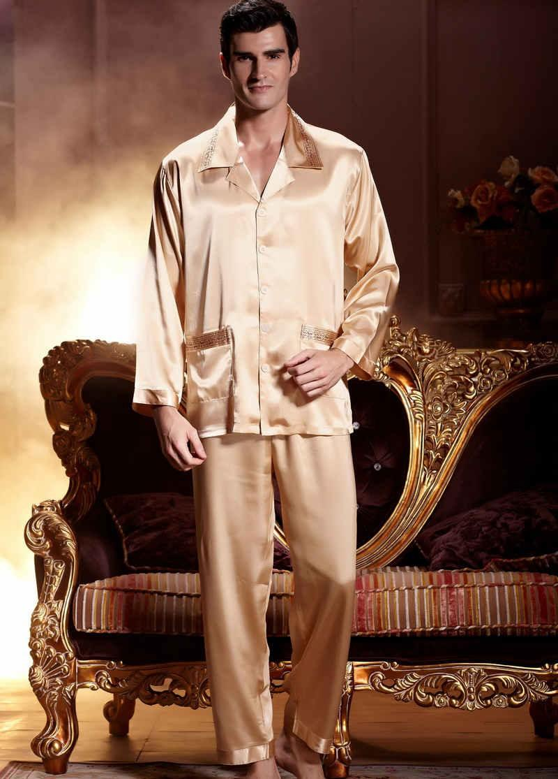 Emulation Silk Men Gold Color Embroidery Nightgowns Full Sleeve ...