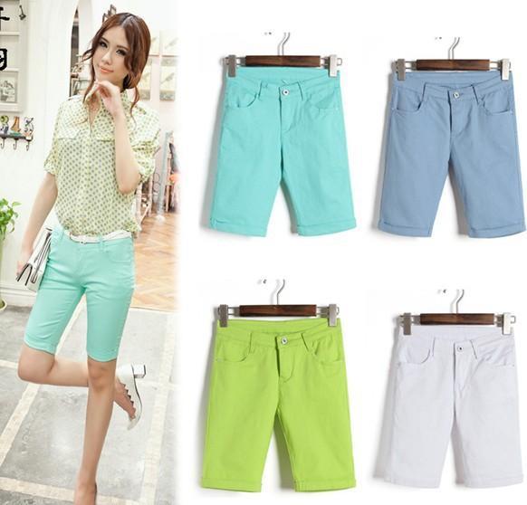 Womans Shorts 2015 Solid Neon Green White Black Girls Cute Fashion ...