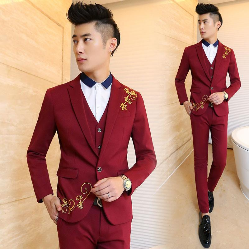 Fashion Slim Fit Burgundy Mens Formal Suits Notched Lapel