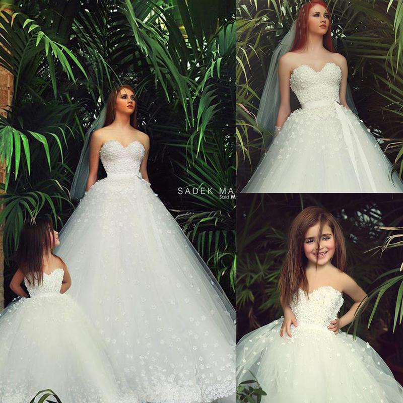 2015 mother daughter matching dresses white sweetheart for Matching wedding and flower girl dresses