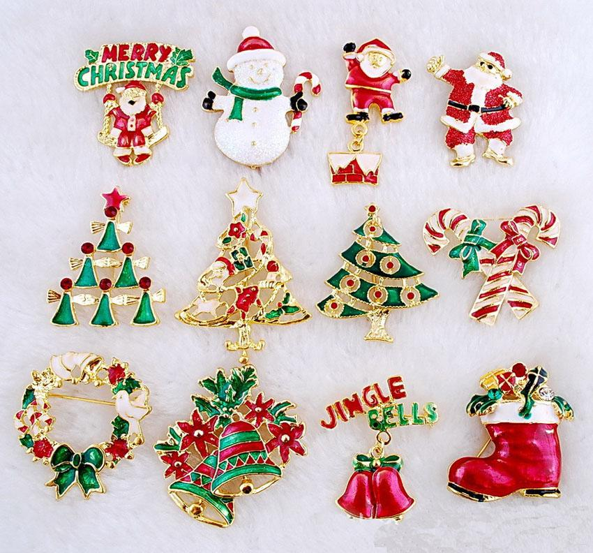 Christmas Brooches Pin Santa Claus And Boots Cane Wreath Snowman ...