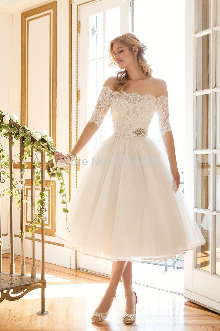 Discount 2016 Cute A Line Short Wedding Dress With Sleeves Lace ...