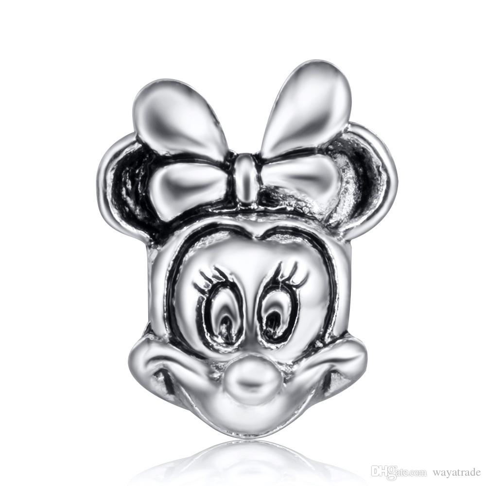 Wholesale Cute Minnie Charm 925 Sterling Silver European Floating Charms Beads Fit DIY Snake Chain Bracelets Fashion DIY Jewelry