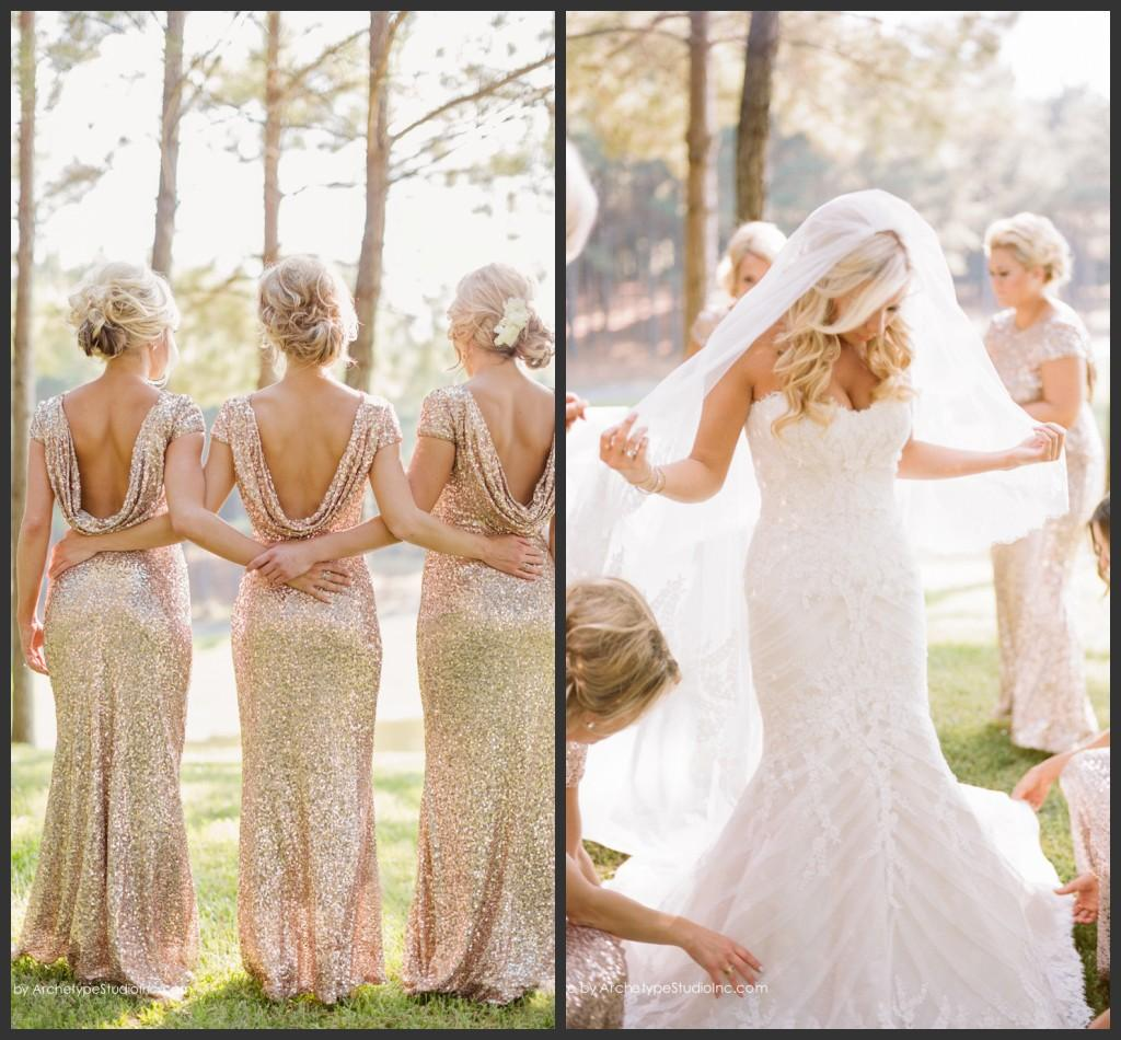 Gold Mermaid Bridesmaid Gowns Low Back Short Sleeves Bling