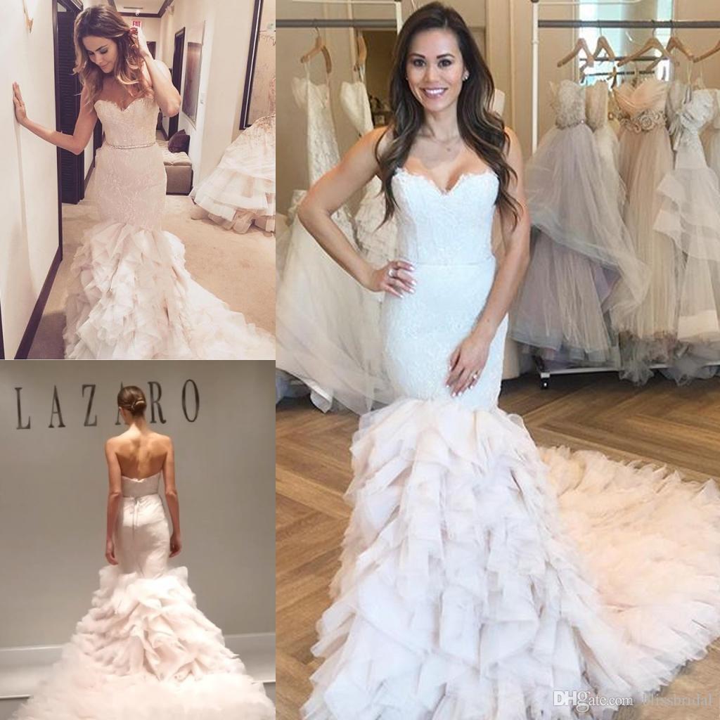 Cascarding Ruffles Mermaid Wedding Dresses Strapless Lace