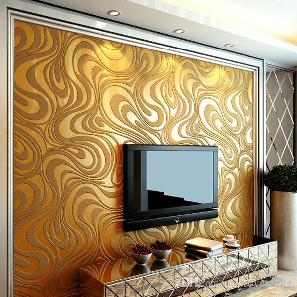 Types Of Wallpaper Coverings: Contemporary Wallpaper Art Deco 3d Simple Style Gold Brown