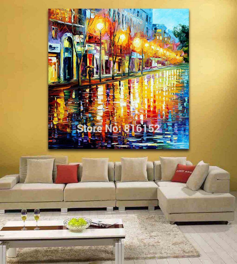 Palette Knife Oil Painting European Cities Usa Cityscape Architecture Picture Printed On Canvas