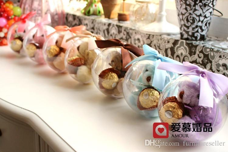 10 CM Clear Crystal Ball Candy Box TEDDY BEAR Round Wedding Gift