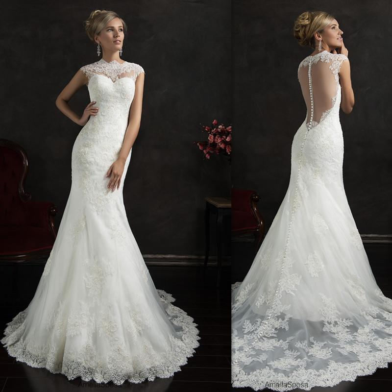 Discount 2016 illusion back wedding dresses white tulle for Dhgate wedding dresses 2016