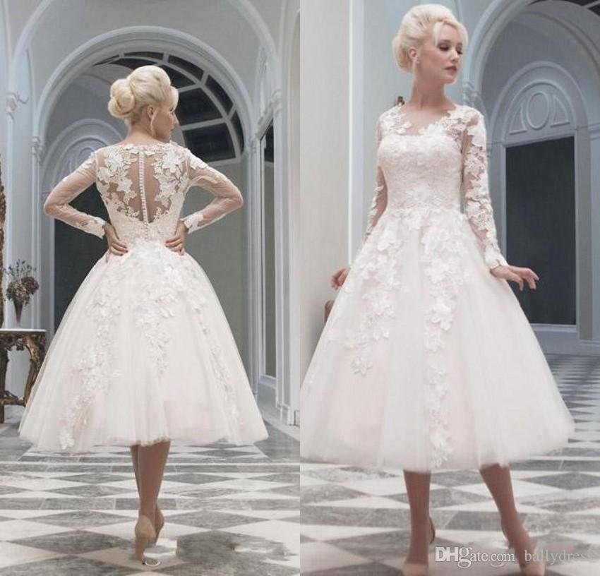 Discount vintage illusion long sleeves wedding dresses tea for Long sleeve lace tea length wedding dress
