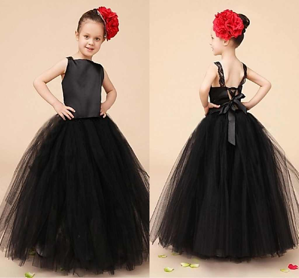Black Elegant Flower Girl Dresses Sleeveless Tulle Satin Floor Lenght Baby Gi