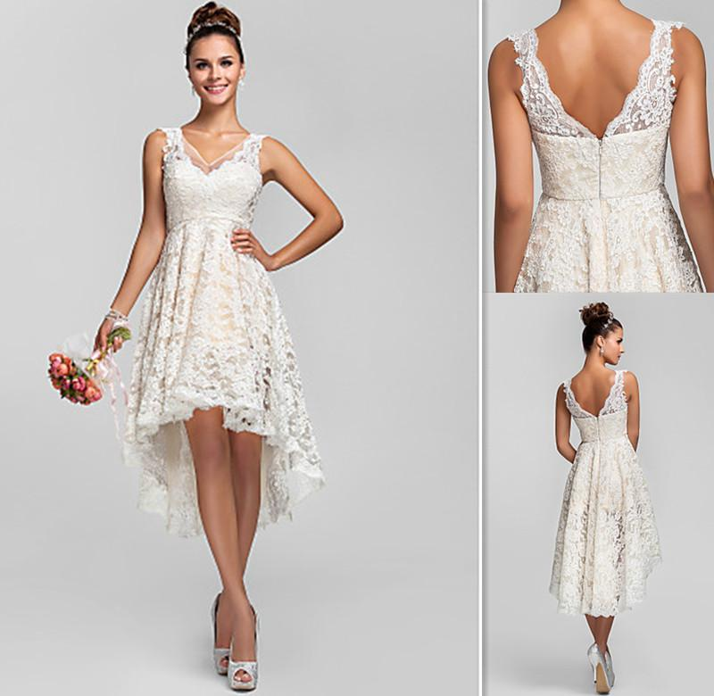 2015 Ivory Lace Cocktail Dress Elegant Empire High Low Prom Gowns ...