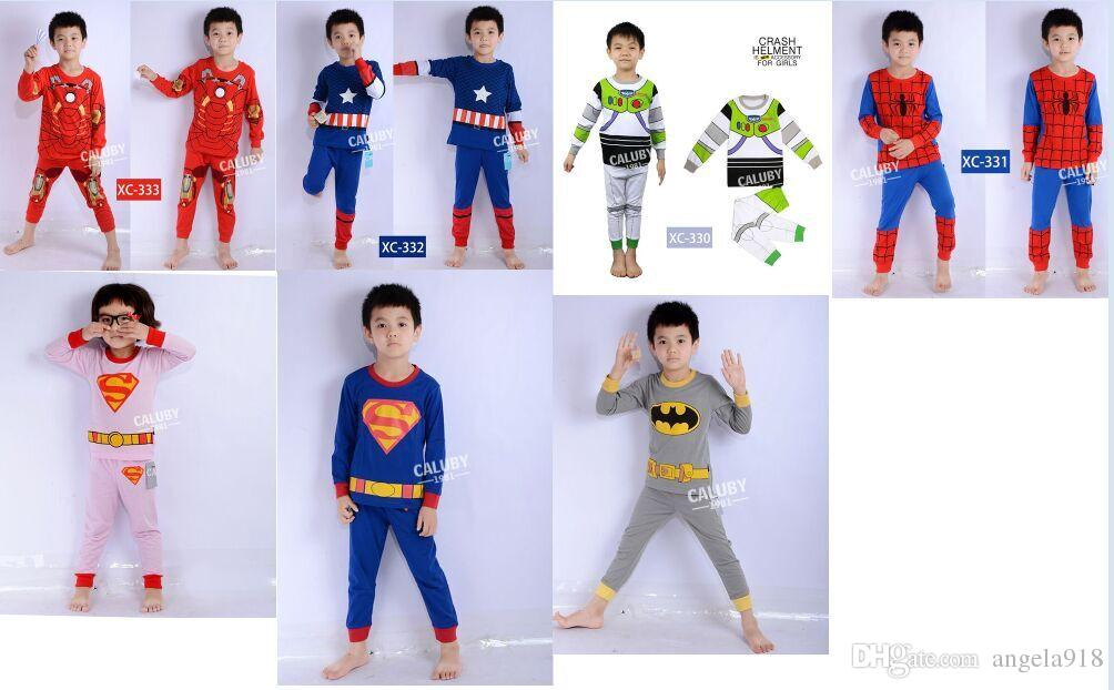 7 Styles New Kids Cartoon Superhero Pajamas Avengers Pajamas ...