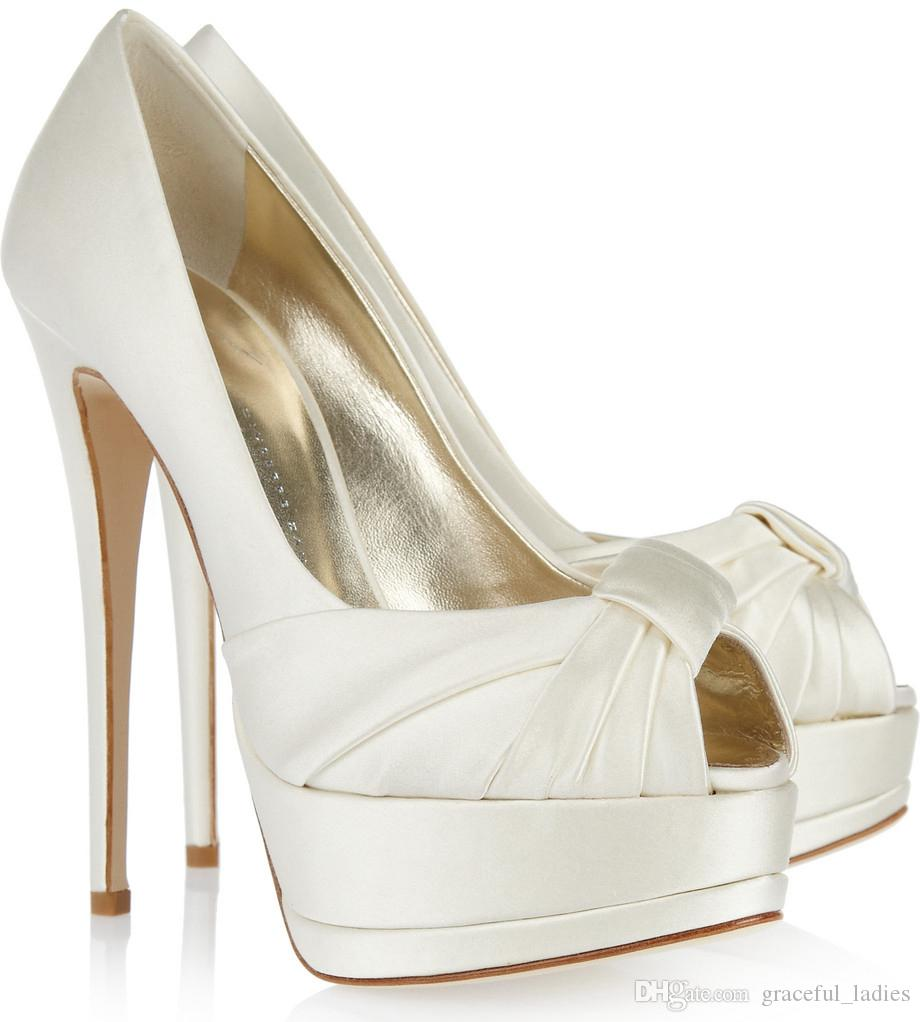 Ivory Satin Wedding Shoes Peep Toe Summer Platform Bridal Pumps ...