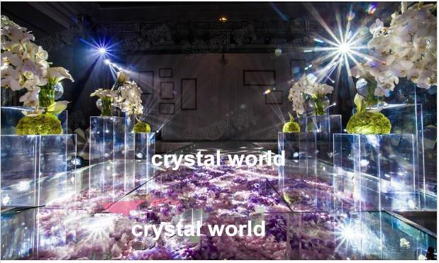 Wedding Decor Modern Crystal Decoration Flower Stand Clear Acrylic Columns Stage Pillars Hanging Decorations