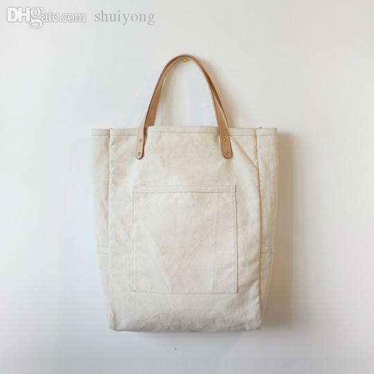 Wholesale Thick Canvas Tote Bag With Leather Strap Shoulder ...
