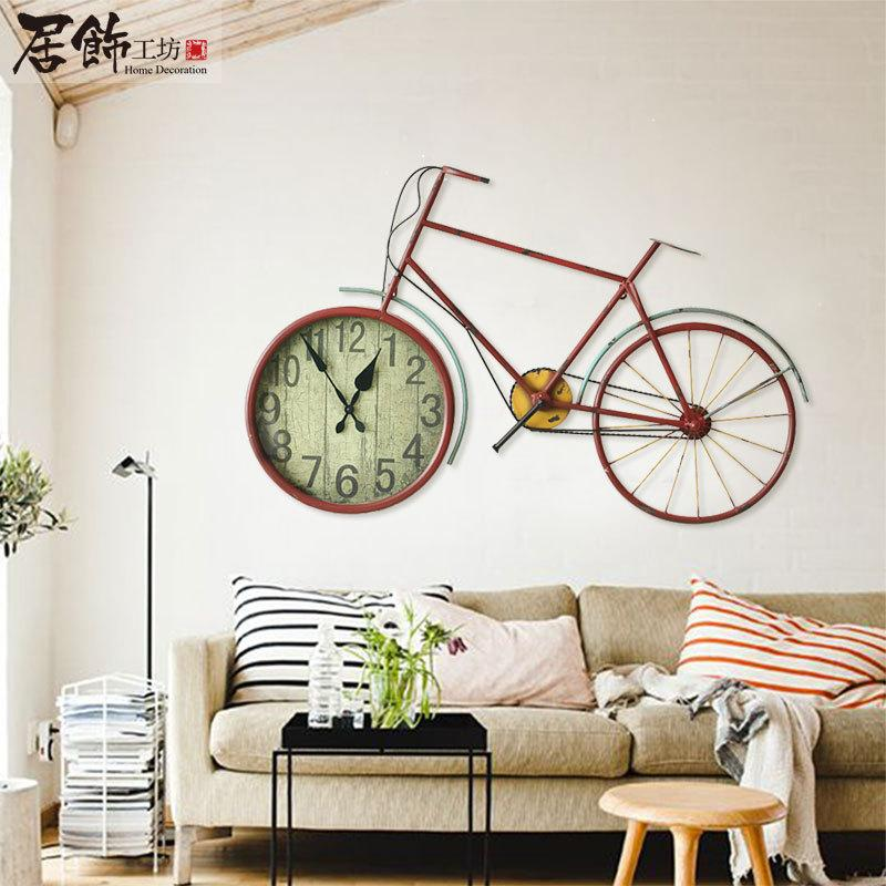 pastoral style living room wall clock watch bike iron wall clock