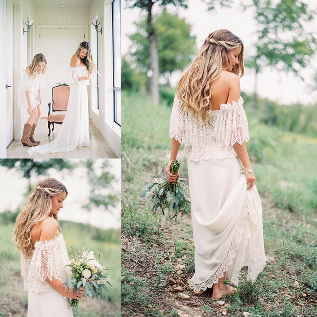 2016 Vintage f The Shoulder Wedding Dresses A Line Floor