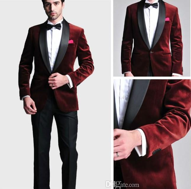 Burgundy Velvet 2015 Groom Tuxedos One Button Best Man Party Mens ...