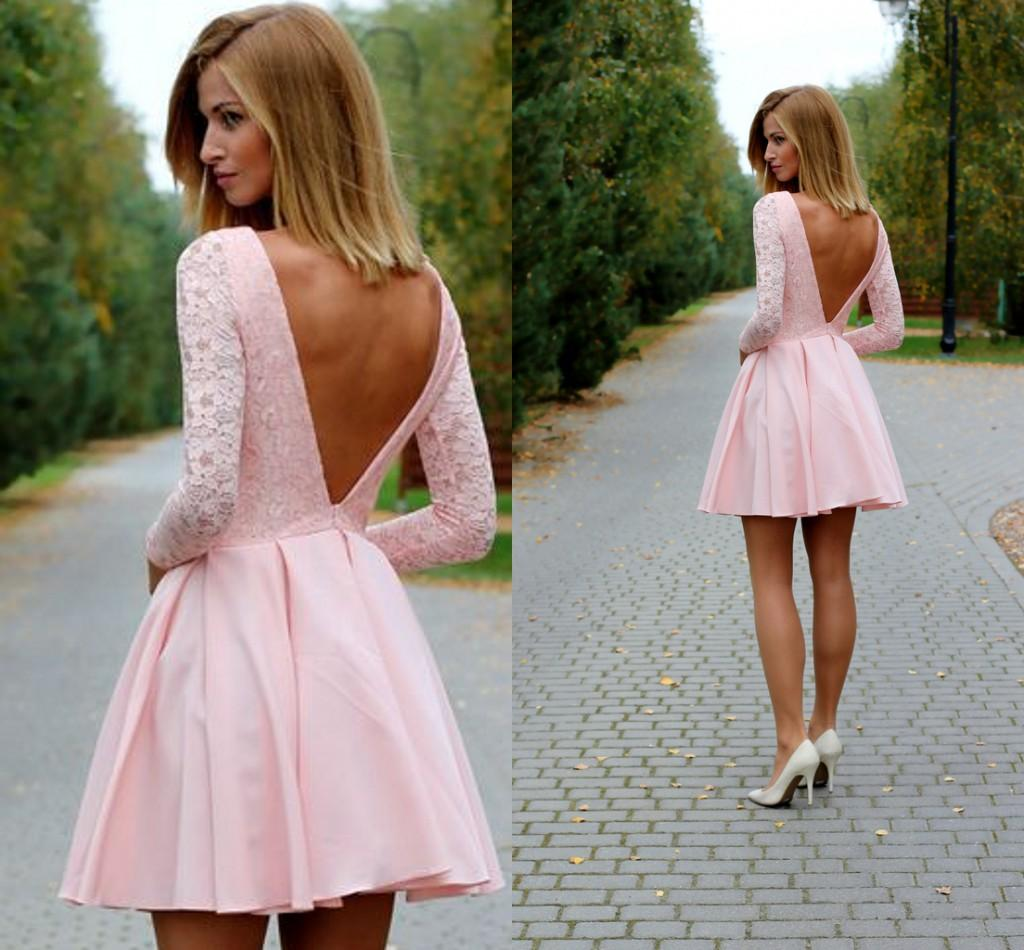 Sexy Low Back Long Sleeves Short Pink Prom Dresses Bateau Lace ...