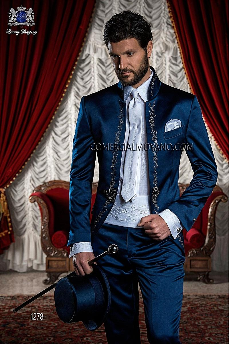 2015 Italian Suit Embroidery Stand Collar Wedding Suit for Men ...