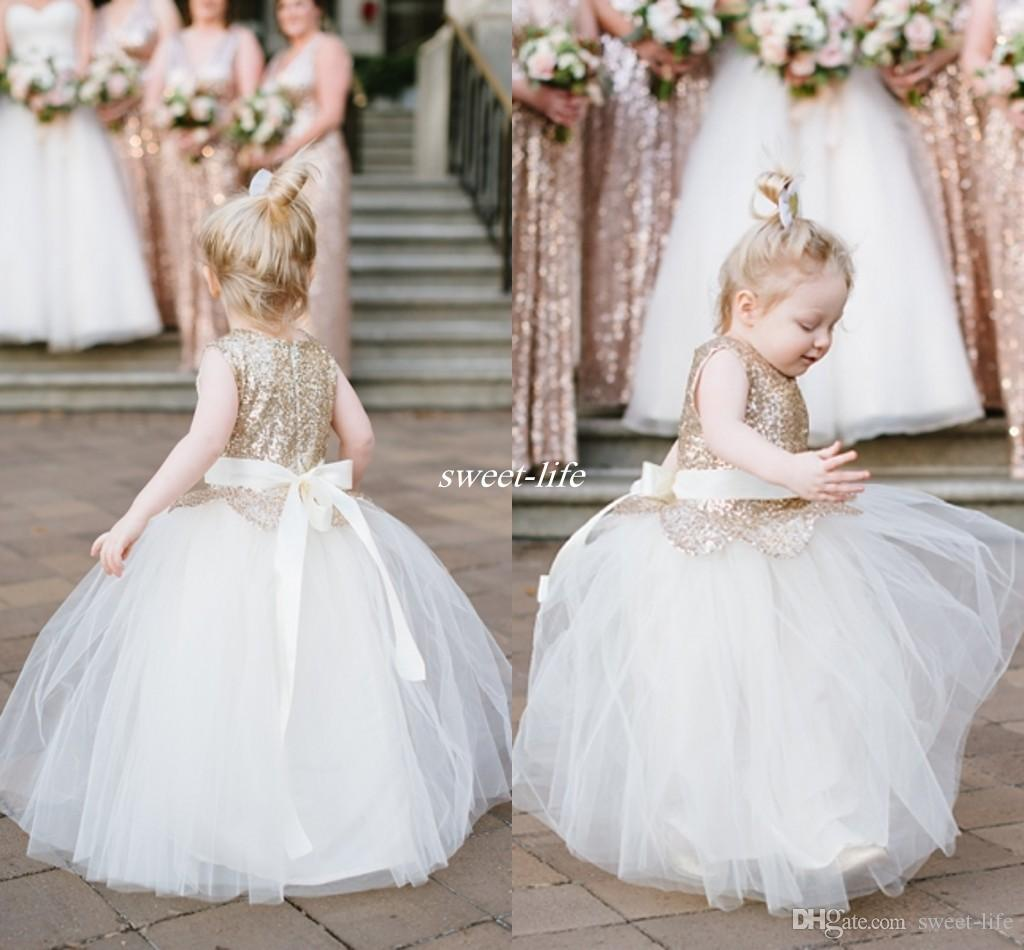 Lovely Ball Gown Wedding Flower Girl Dresses Sparkly Rose Gold Sequins Sash F