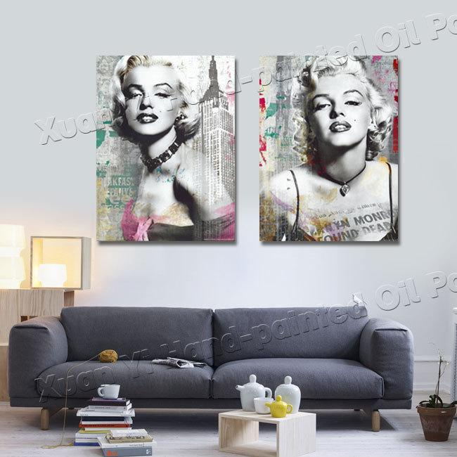 Pittura 2 panel sexy marilyn monroe, olio su tela wall art poster ...