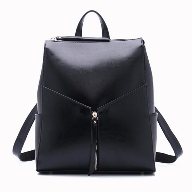 2015 Black Leather Backpack Designer Brand Women Genuine Leather ...