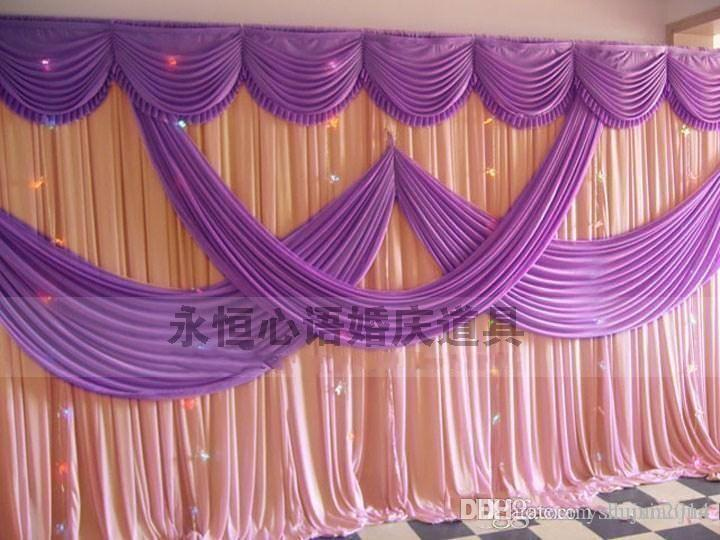 High quality 3 6m wedding decoration backdrop with swags for Background curtain decoration