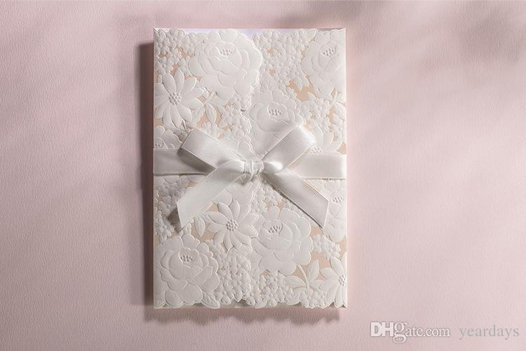 Western Style White Hollow Lace Design Wedding Invitations – Card for Wedding Invitations Supplies