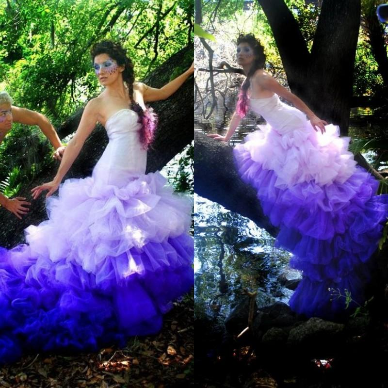 2015 gorgeous ombre purple mermaid wedding dresses fit and for Purple ombre wedding dress