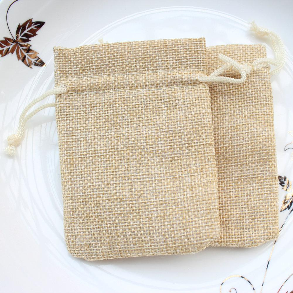 6*9cm Small Burlap Bags with Drawstring Wedding Birthday Favor ...