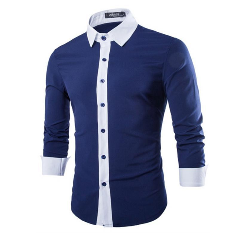 Men Shirt in Autumn 2017 Fashion Brand Cotton Slim Men Shirt Long ...