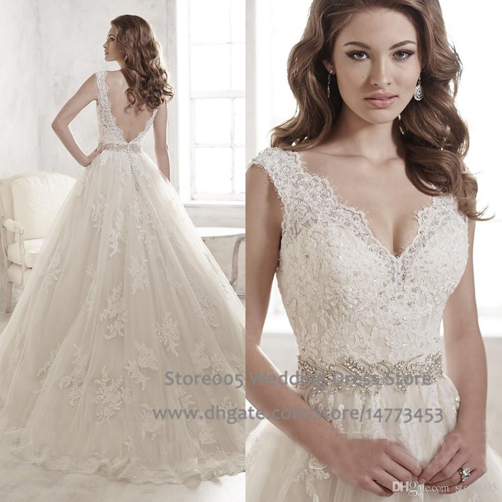 bling open back designer wedding gowns v neck beads lace bridal dresses 2015 ivory white v