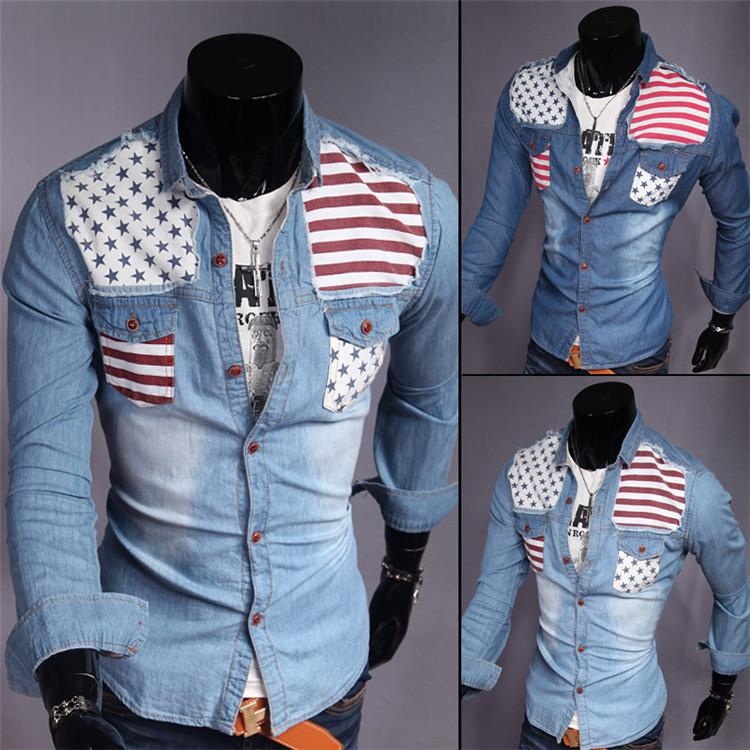Best 2015 New Design Camisa Jeans Men'S Fashion Autumn National ...