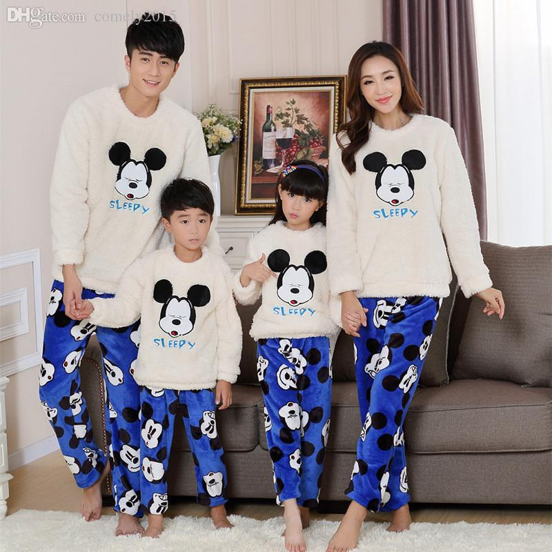 Wholesale Thick Family Matching Pajamas Flannel Winter Warm ...