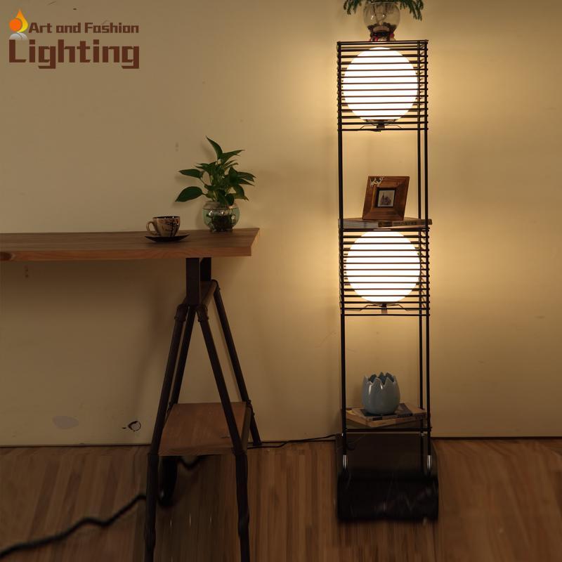 2017 Top Grade Iron Grille Floor Lamp Modern Ikea Shelf Light Ball
