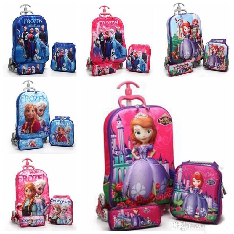 3d Cartoon 16 Inch Children School Bags Wheels 3 In Kids