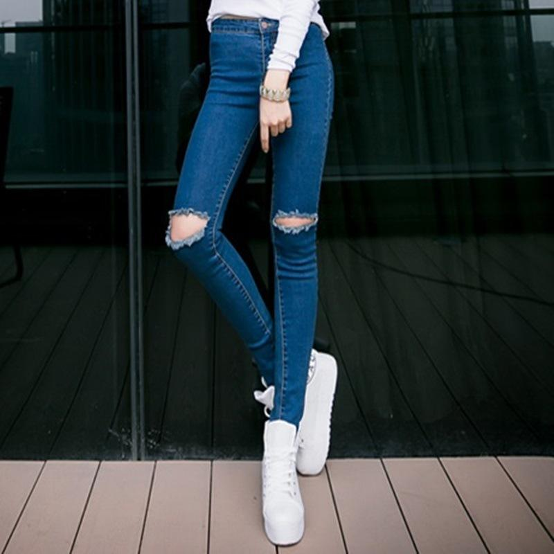 New High Waist Jeans Woman Knee Hole Skinny Pencil Pants Slim ...