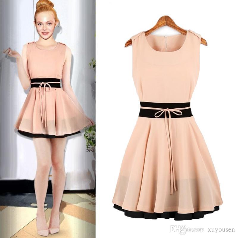 Vintage Casual Dress Contrast Color Patchwork Chiffon Summer Dress ...