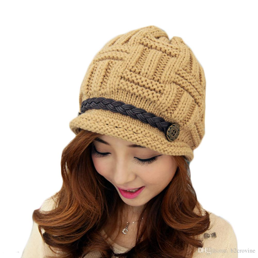 S5Q Women Beanie Knitting woolen yarn cap Warm Winter Rageared Baggy Crochet Caps Cute Skiing Hat AAADYW